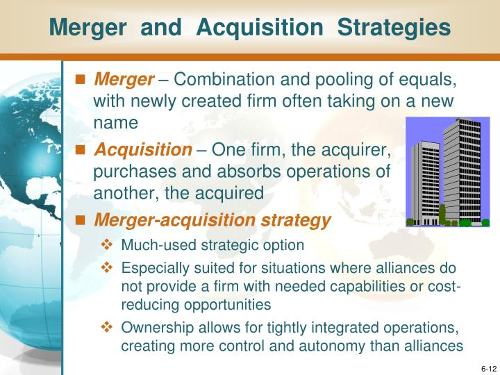 Merger  and  Acquisition  Strategies
