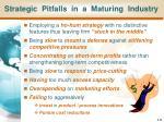 strategic pitfalls in a maturing industry