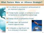 what factors make an alliance strategic
