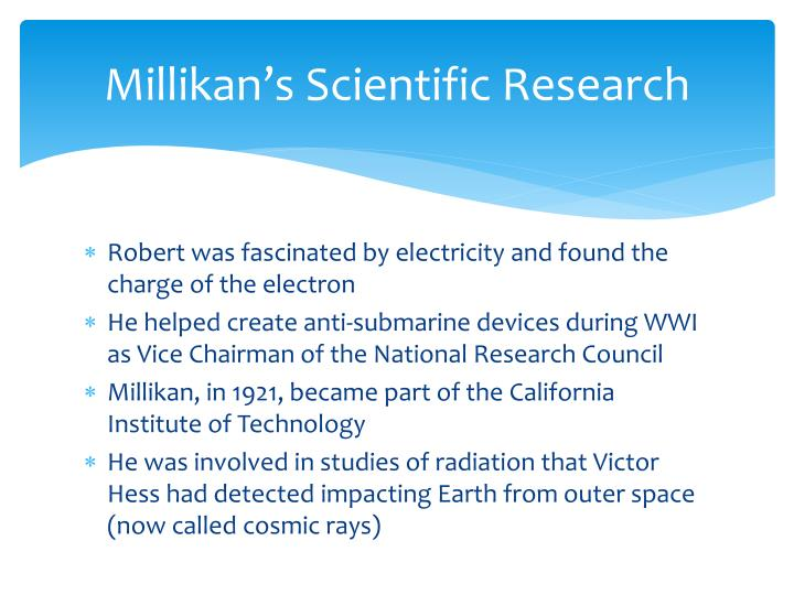 Millikan s scientific research
