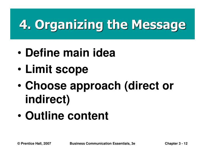 4. Organizing the Message