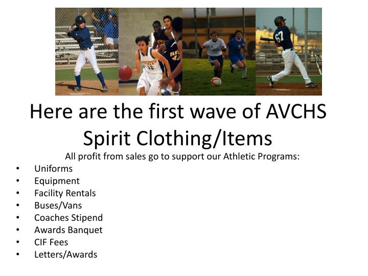 Here are the first wave of AVCHS Spirit Clothing/Items