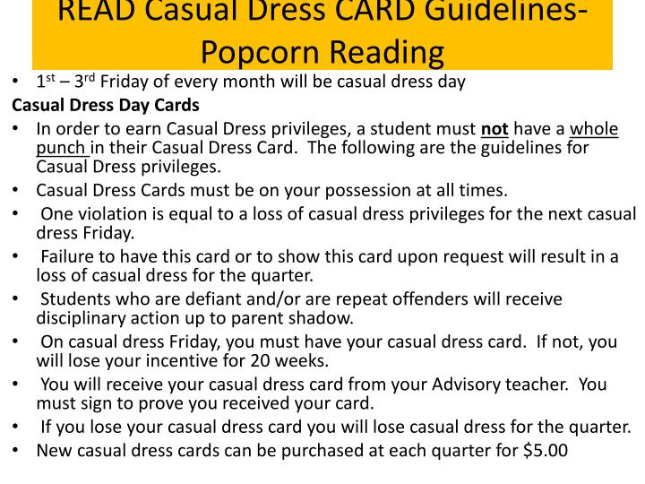 READ Casual Dress CARD Guidelines-Popcorn Reading