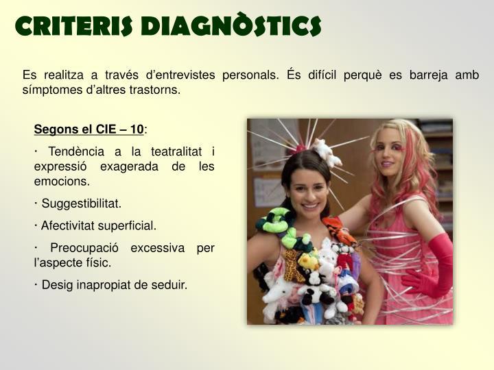 CRITERIS DIAGNÒSTICS