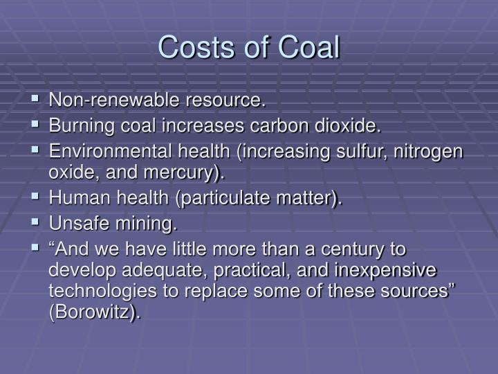 Costs of coal