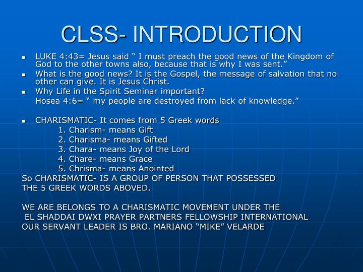 Clss introduction