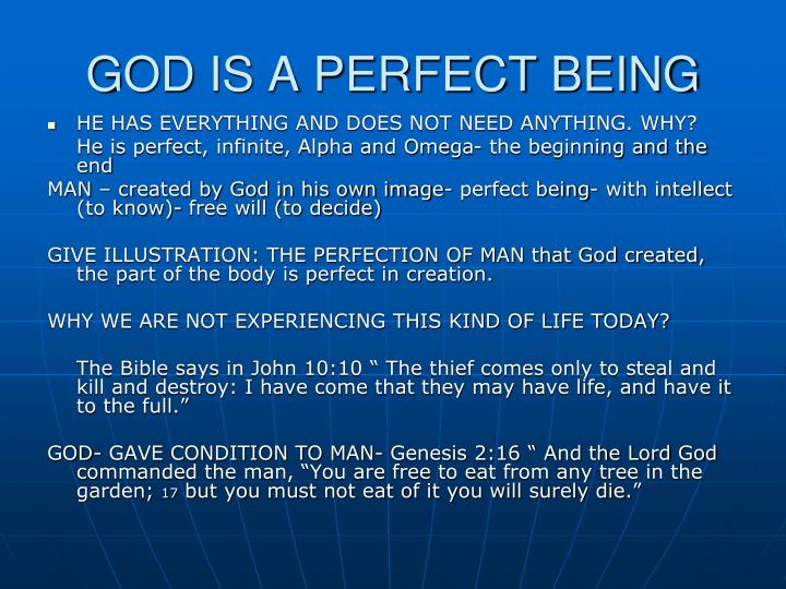 GOD IS A PERFECT BEING