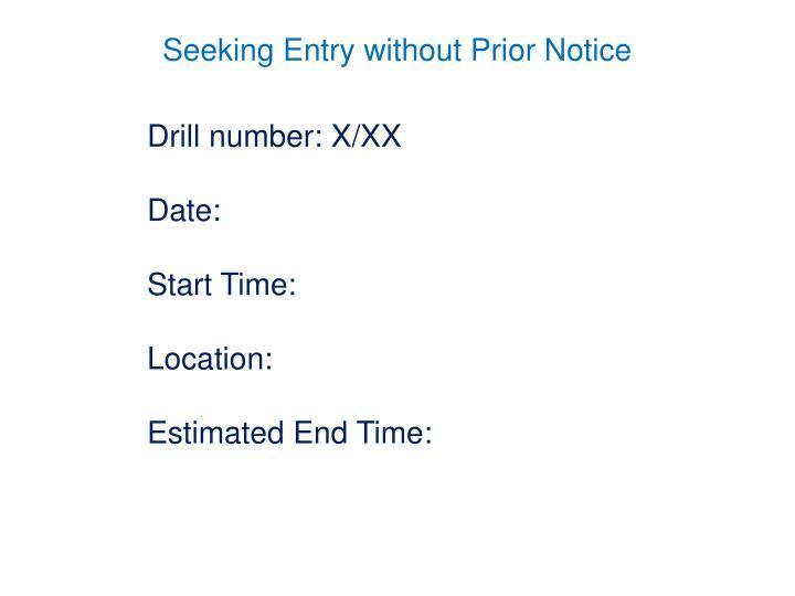 Drill number: X/XX