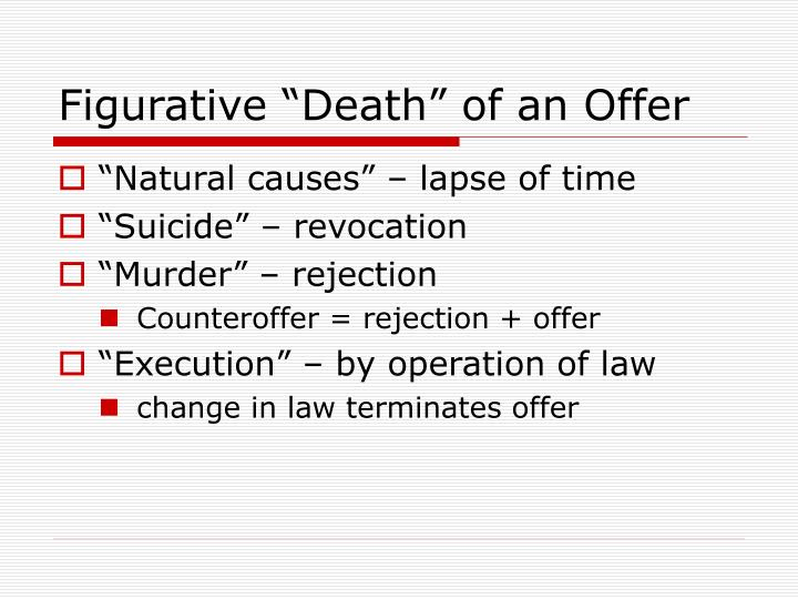 "Figurative ""Death"" of an Offer"