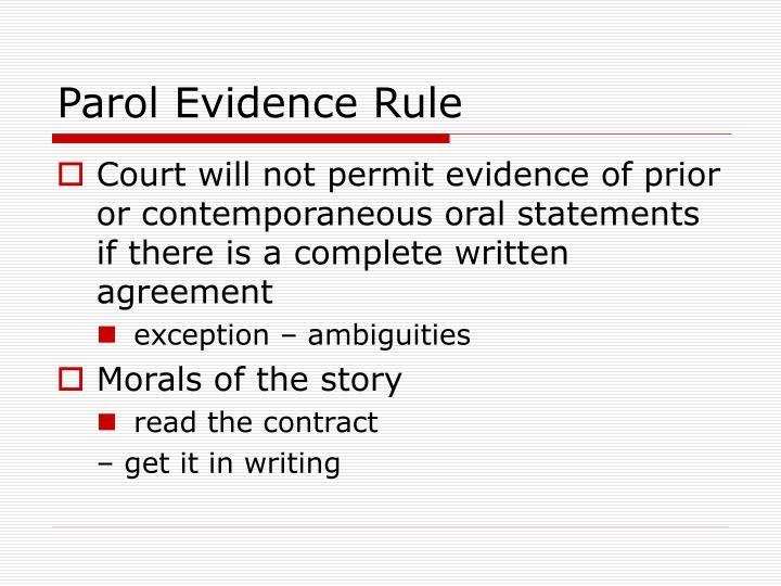 Parol Evidence Rule