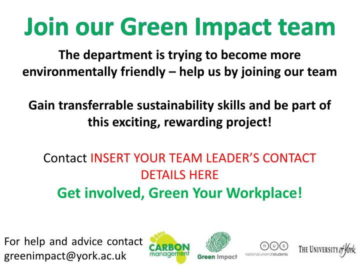 Join our Green Impact team