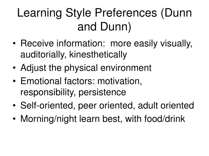 Learning Style Preferences (Dunn and Dunn)