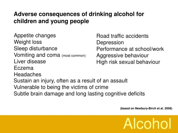 Adverse consequences of drinking alcohol for children and young people