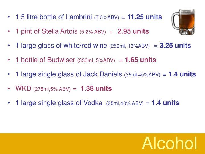 1.5 litre bottle of Lambrini