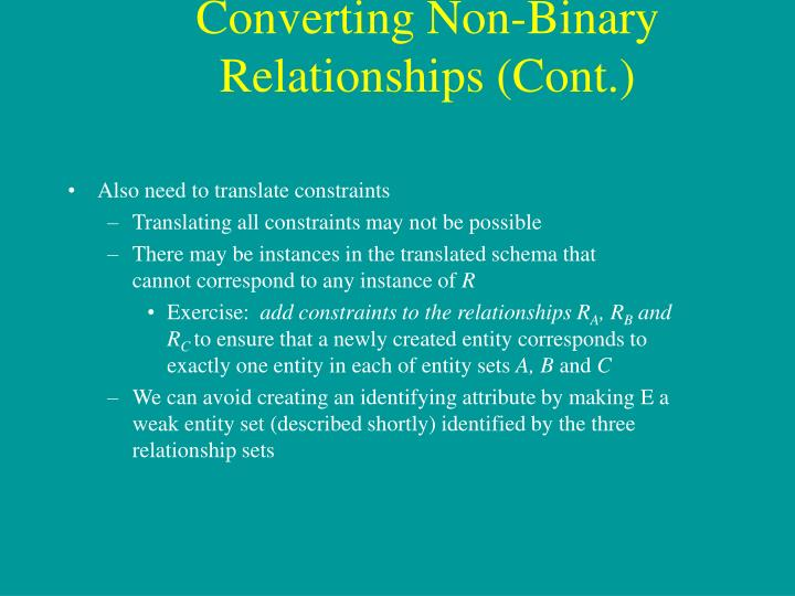 Converting Non-Binary Relationships (Cont.)