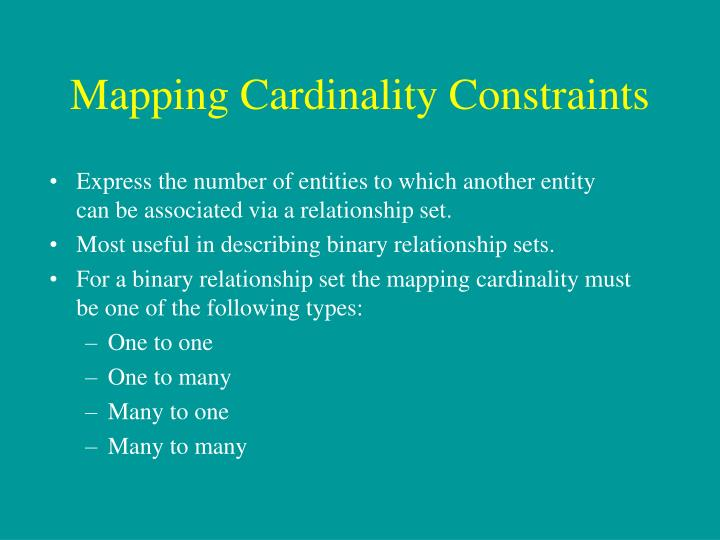 Mapping Cardinality Constraints