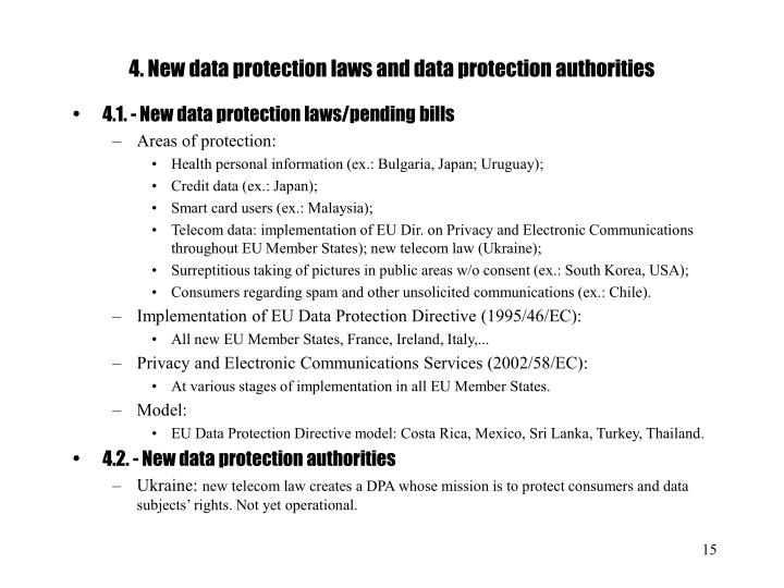 4. New data protection laws and data protection authorities