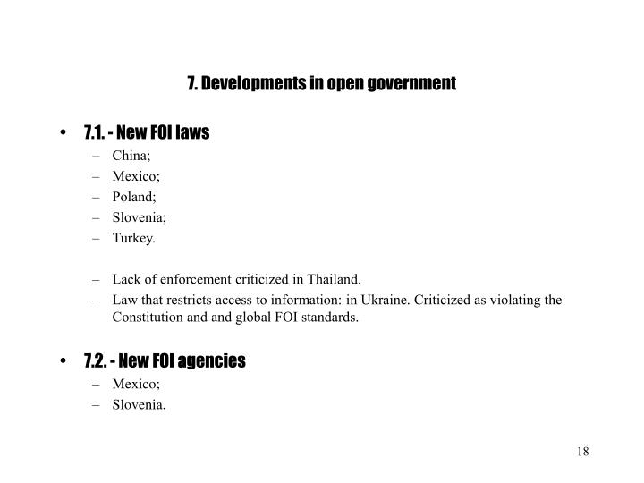 7. Developments in open government