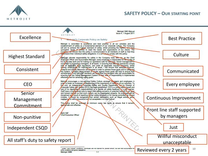 SAFETY POLICY – Our starting point