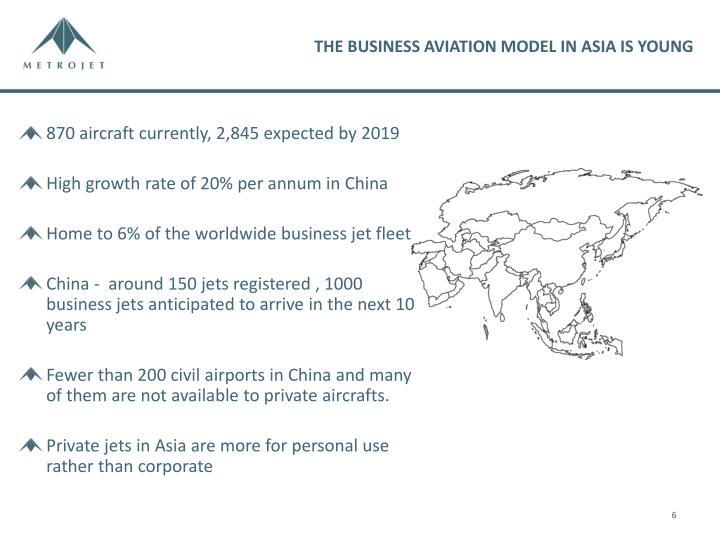 THE BUSINESS AVIATION MODEL IN ASIA IS YOUNG