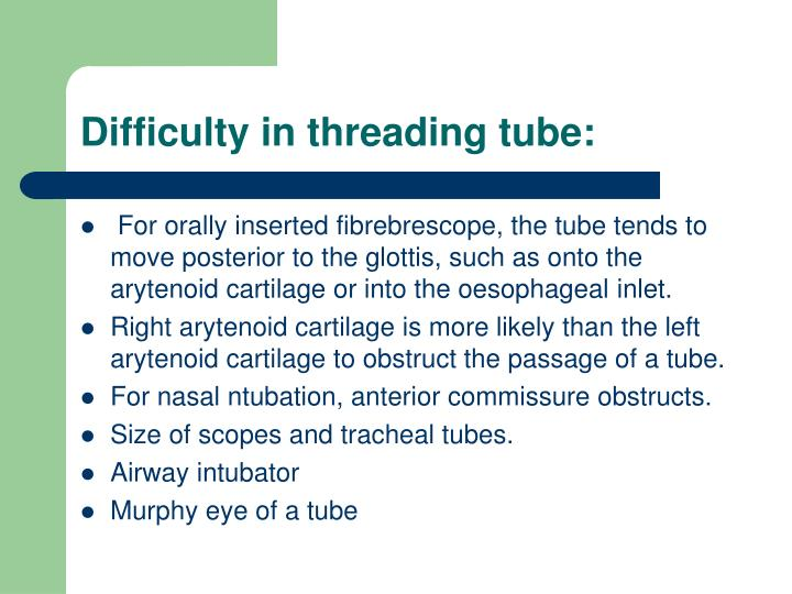 Difficulty in threading tube: