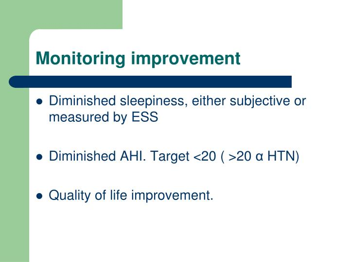Monitoring improvement