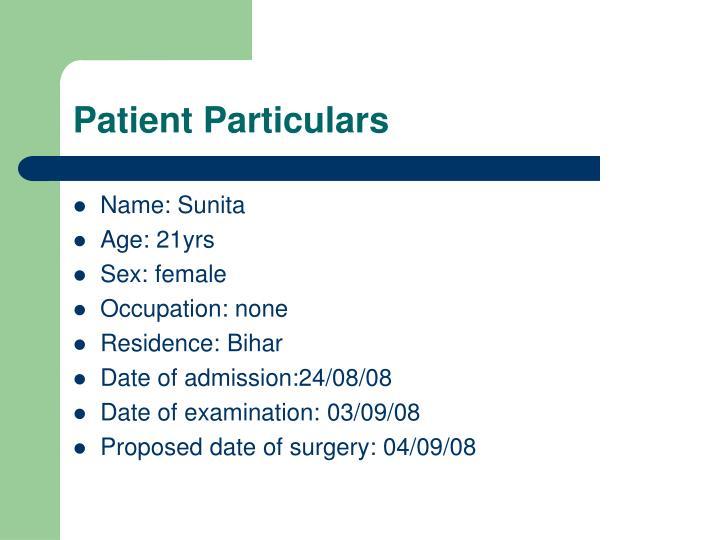 Patient Particulars