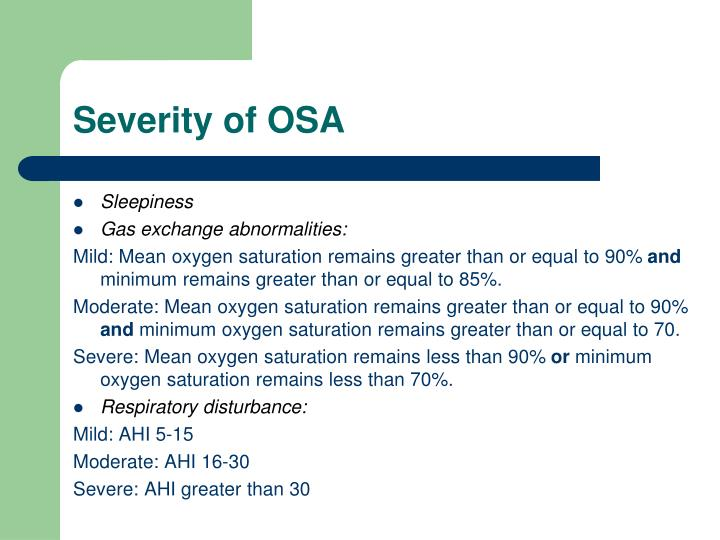 Severity of OSA