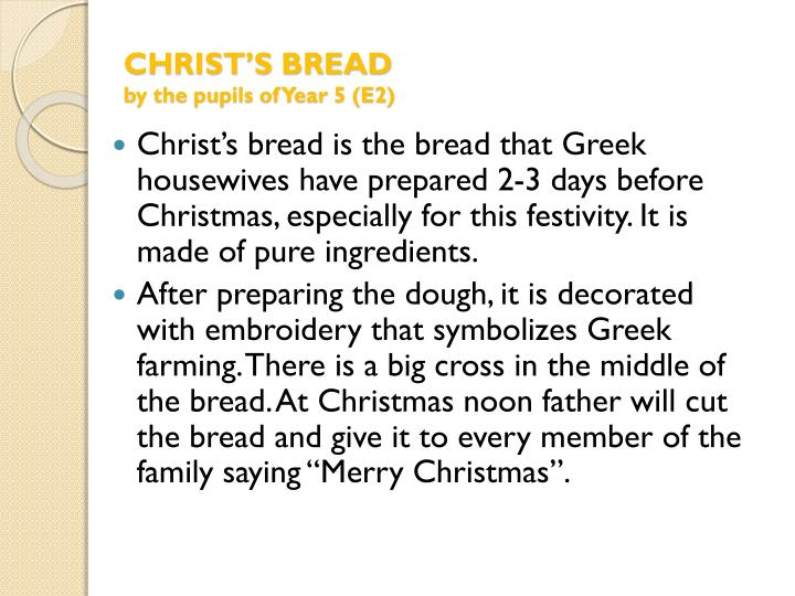 CHRIST'S BREAD