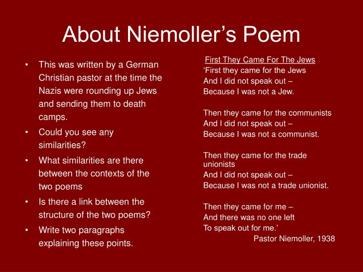About Niemoller's Poem