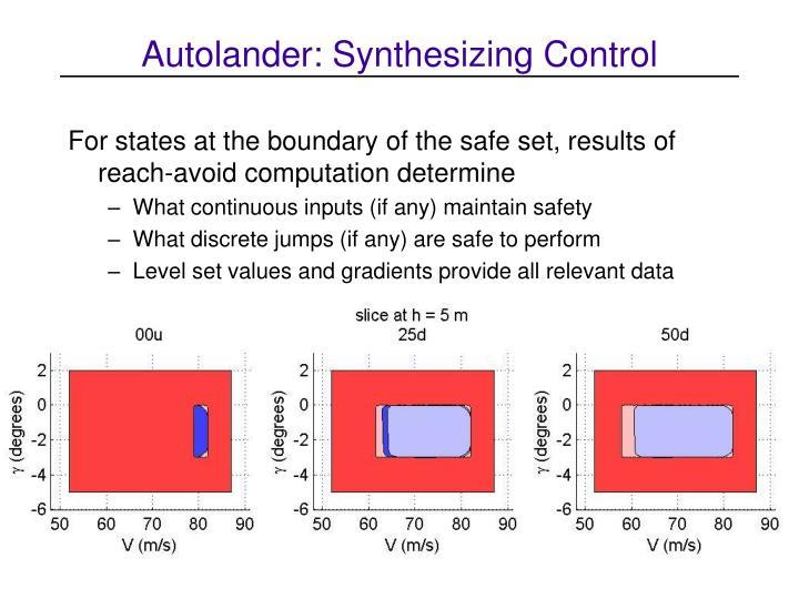 Autolander: Synthesizing Control