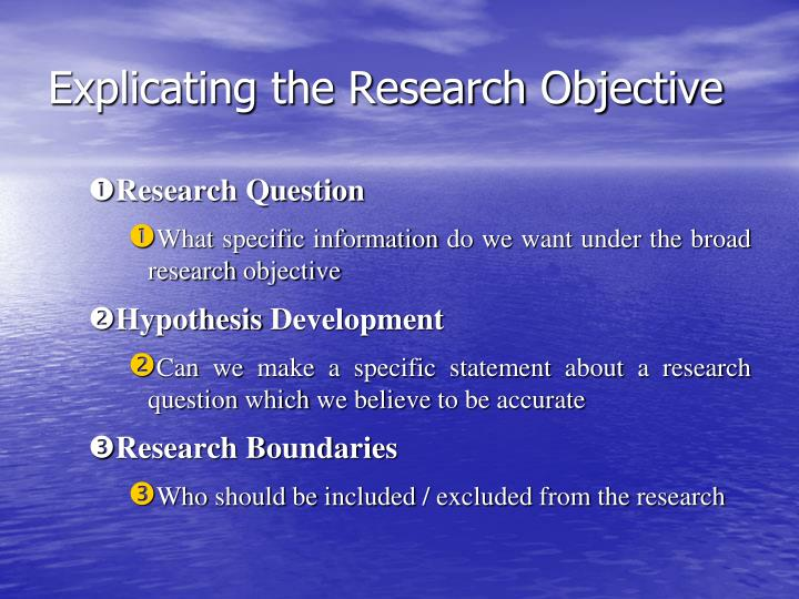 Explicating the Research Objective