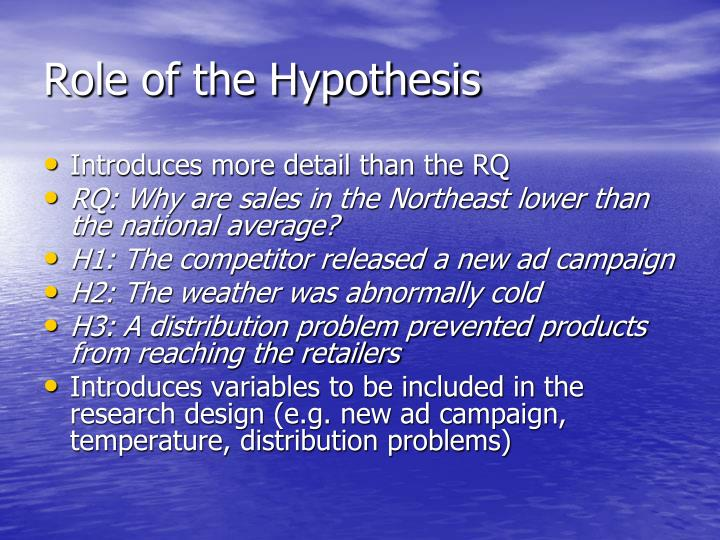 Role of the Hypothesis