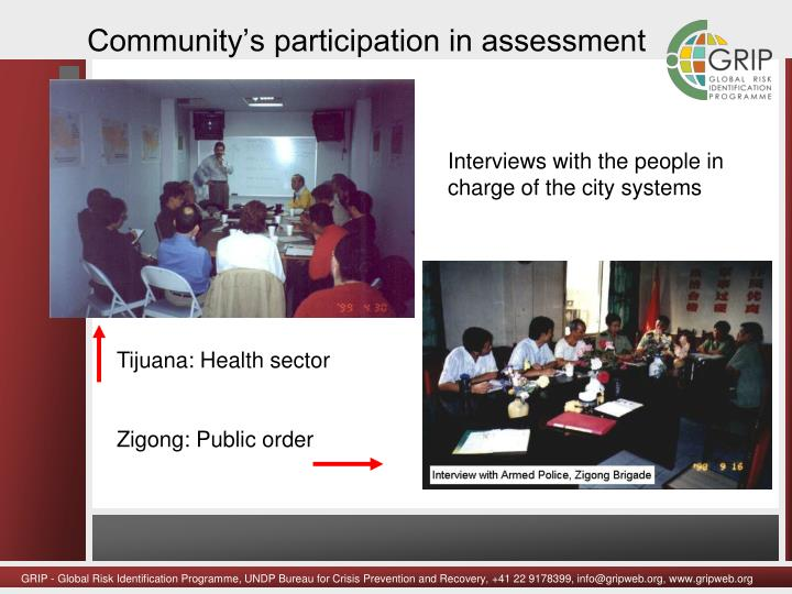 Community's participation in assessment