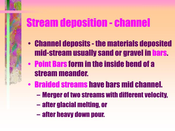 Stream deposition - channel
