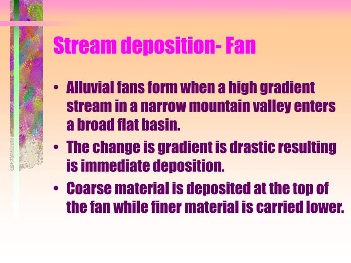 Stream deposition- Fan