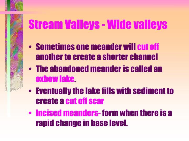 Stream Valleys - Wide valleys