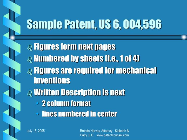 Sample Patent, US 6, 004,596