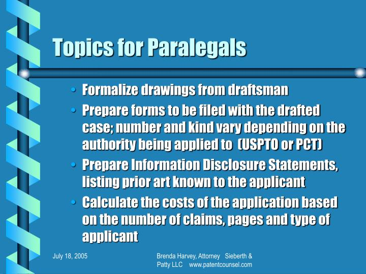Topics for Paralegals