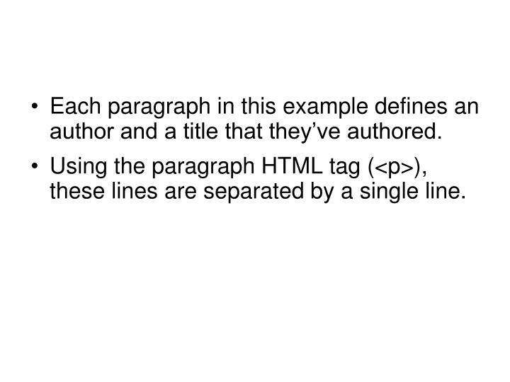 Each paragraph in this example defines an author and a title that they've authored.
