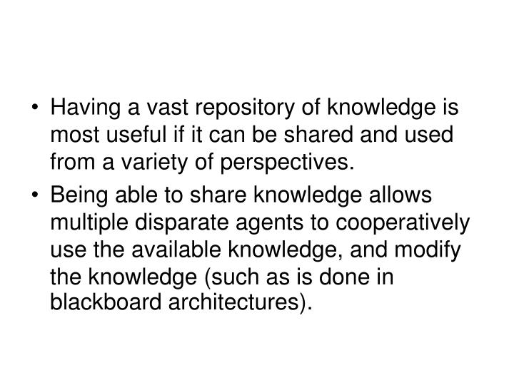 Having a vast repository of knowledge is most useful if it can be shared and used from a variety of perspectives.