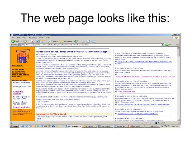 The web page looks like this: