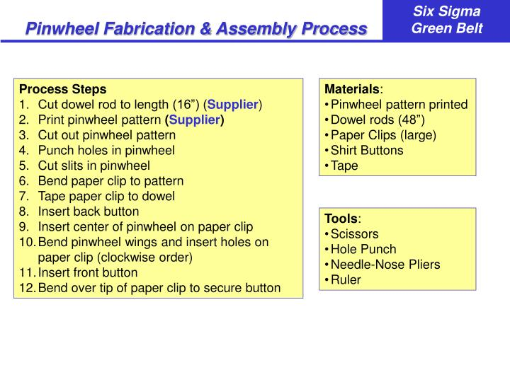 Pinwheel Fabrication & Assembly Process