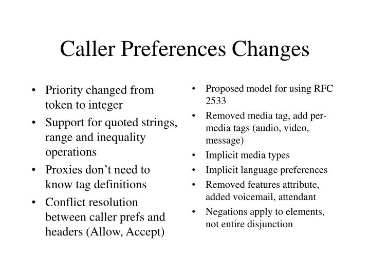 Caller preferences changes