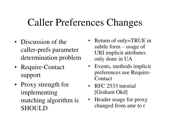 Caller preferences changes1