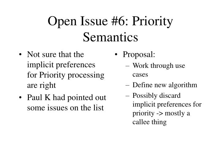 Not sure that the implicit preferences for Priority processing are right