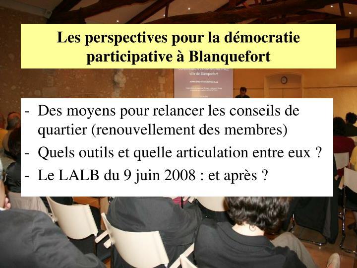 Les perspectives pour la démocratie participative à Blanquefort