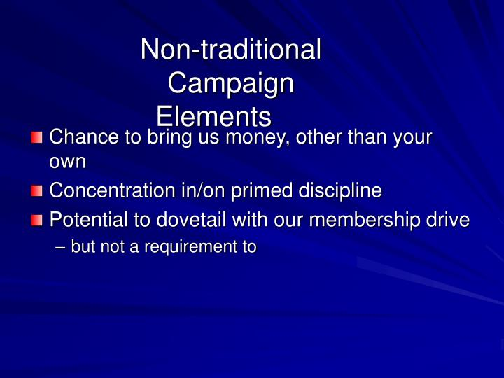 Non-traditional Campaign Elements