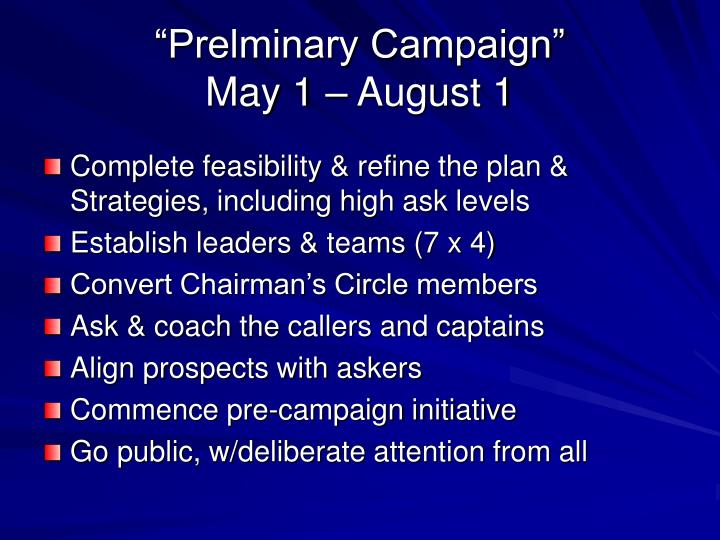 """""""Prelminary Campaign"""""""