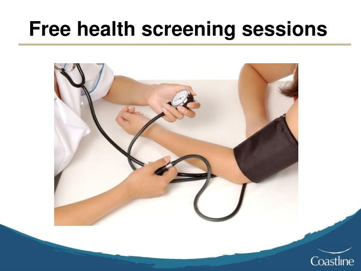 Free health screening sessions